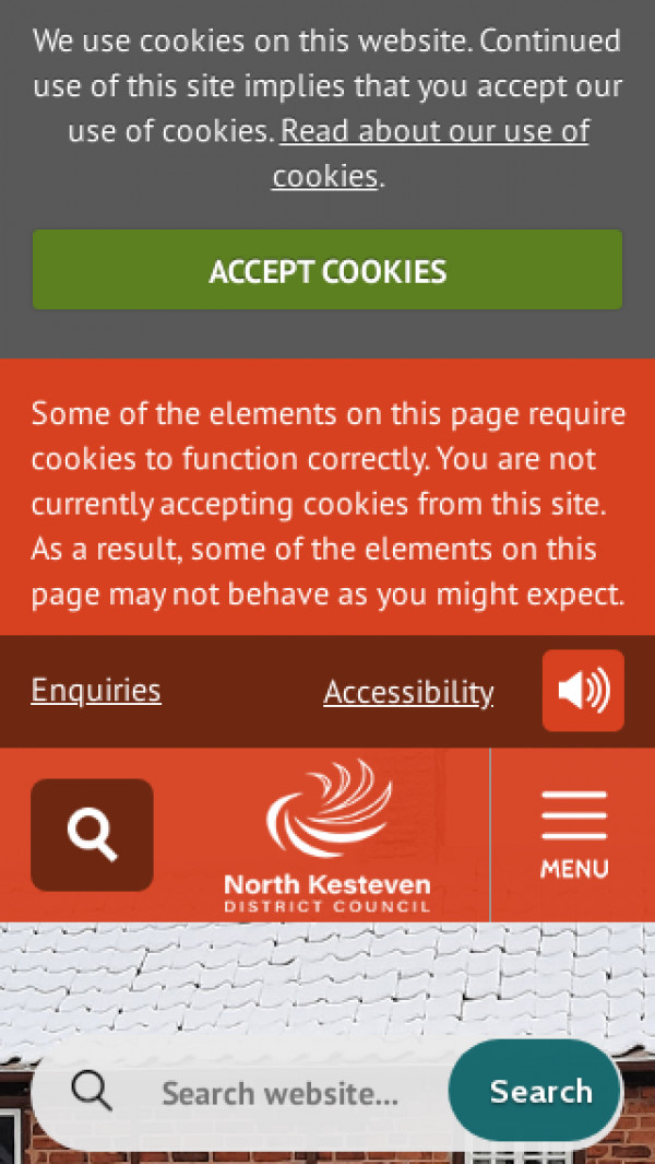 Mobile screenshot of North Kesteven District Council website