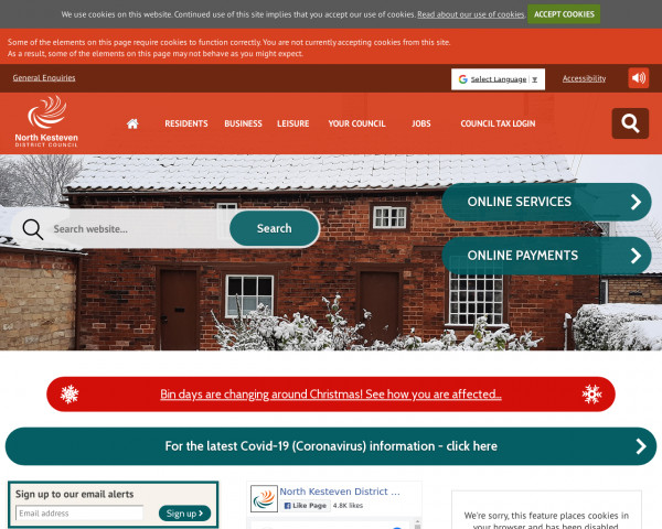 Desktop screenshot of North Kesteven District Council website