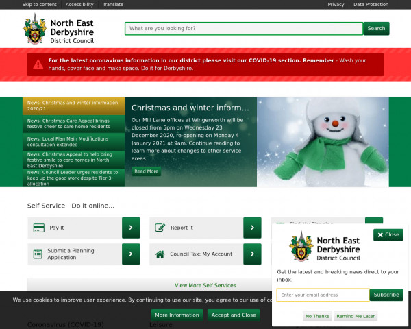 Desktop screenshot of North East Derbyshire District Council website