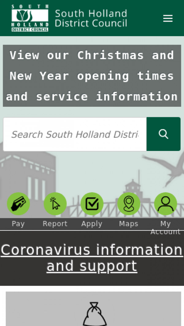 Mobile screenshot of South Holland District Council website