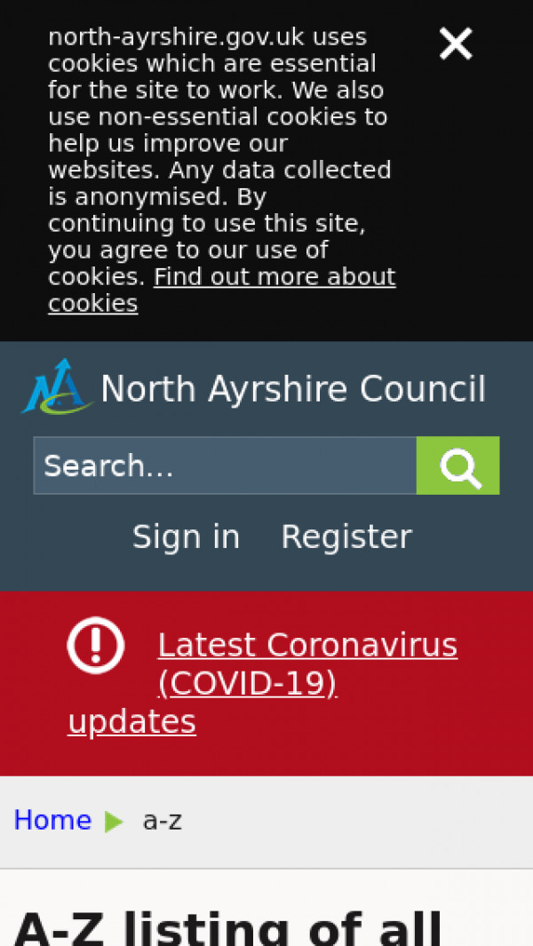 Mobile screenshot of North Ayrshire Council website