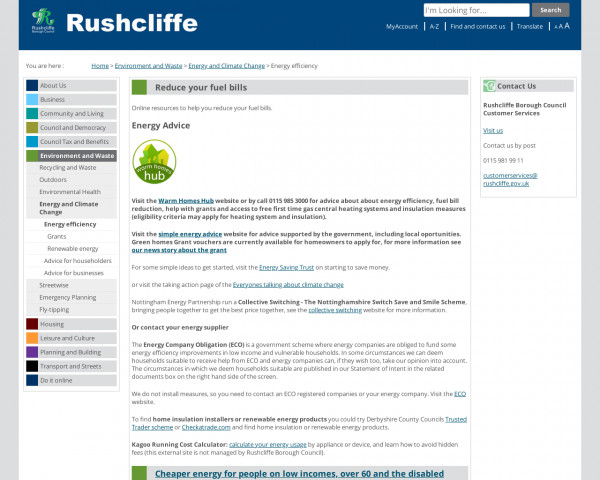 Screenshot of Energy efficiency - Rushcliffe Borough Council