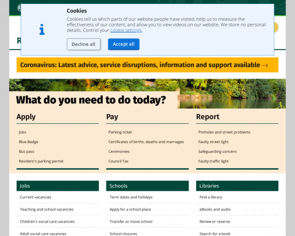 Desktop screenshot of Oxfordshire County Council website