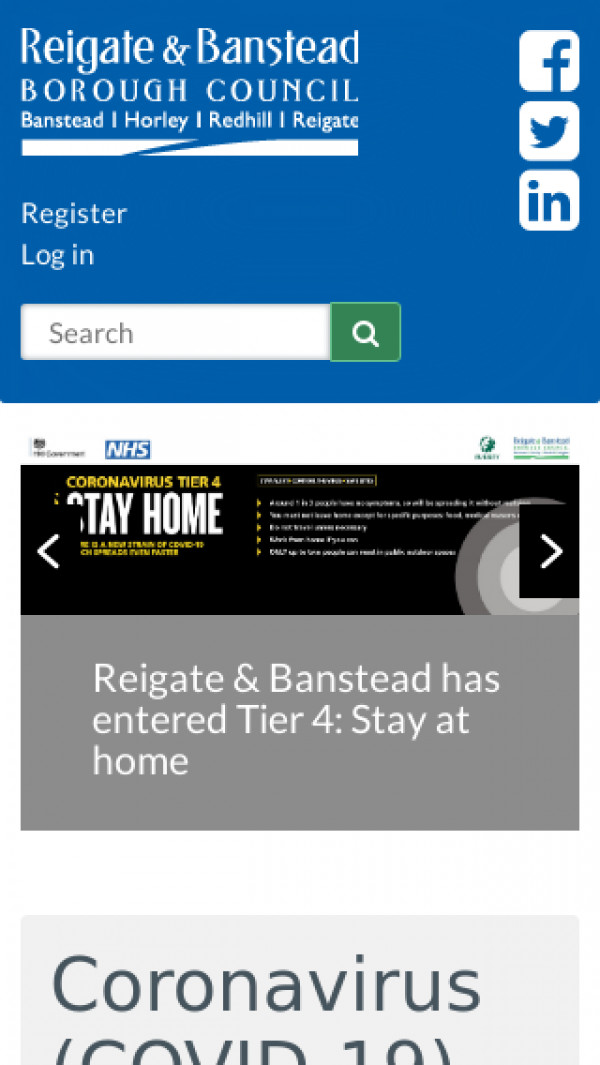 Mobile screenshot of Reigate and Banstead Borough Council website