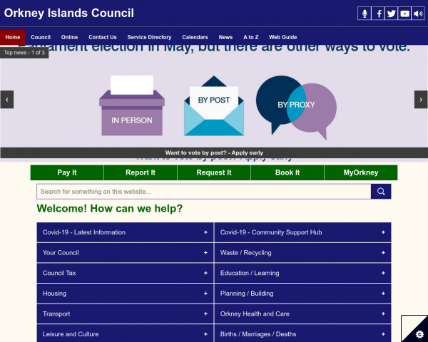Desktop screenshot of Orkney Islands Council website