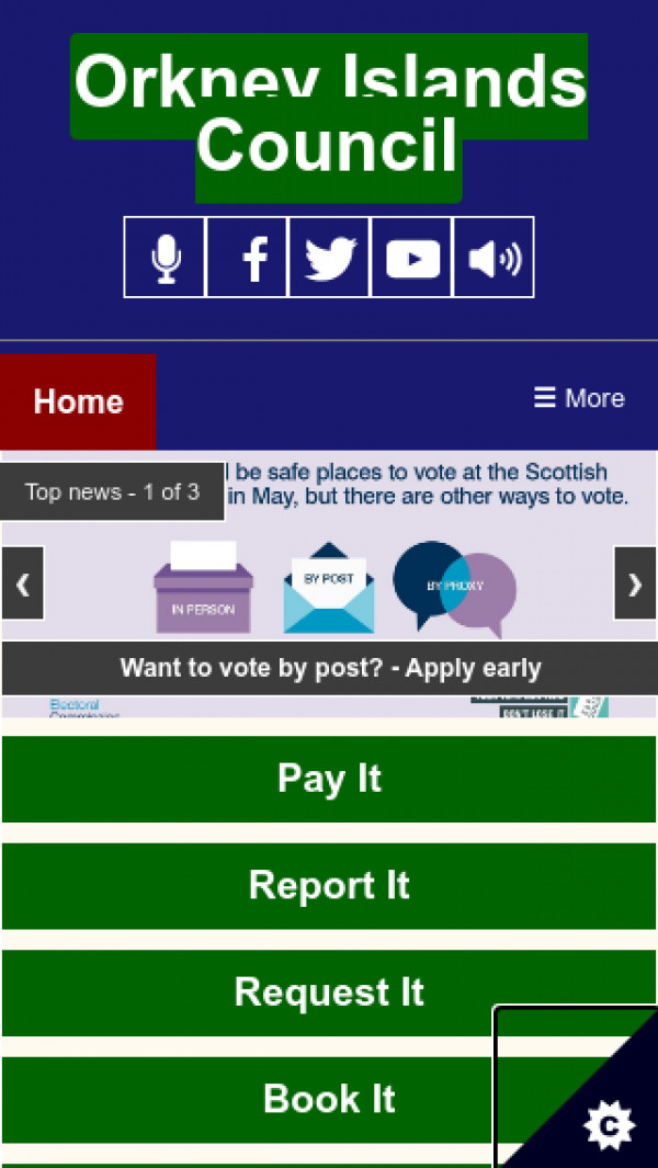 Mobile screenshot of Orkney Islands Council website