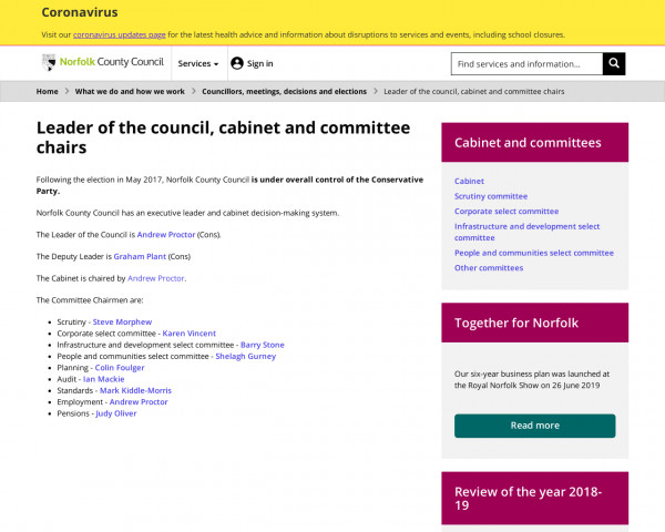 Screenshot of Leader of the council, cabinet and committee chairs - Norfolk County Council