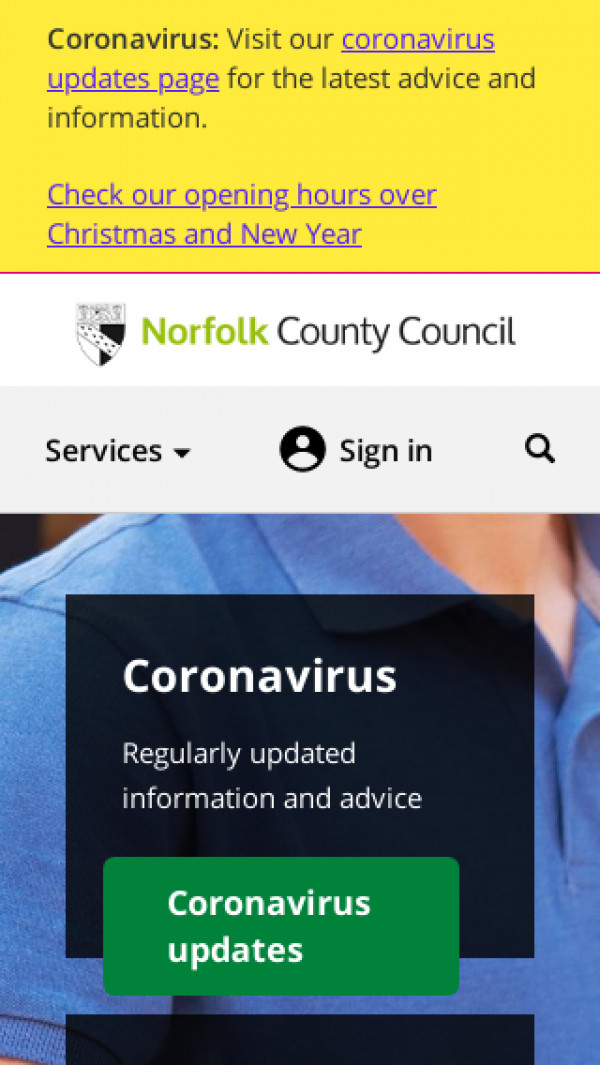Mobile screenshot of Norfolk County Council website