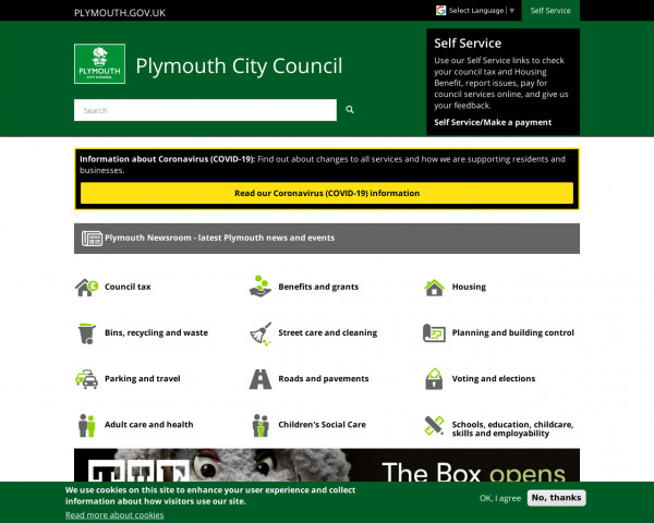 Desktop screenshot of Plymouth City Council website