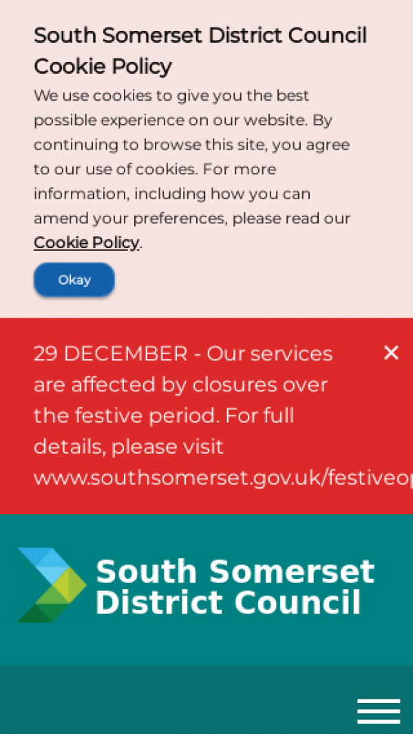 Mobile screenshot of South Somerset District Council website