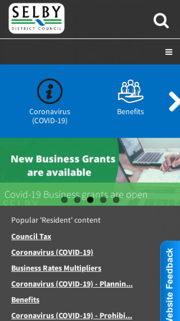Mobile screenshot of Selby District Council website