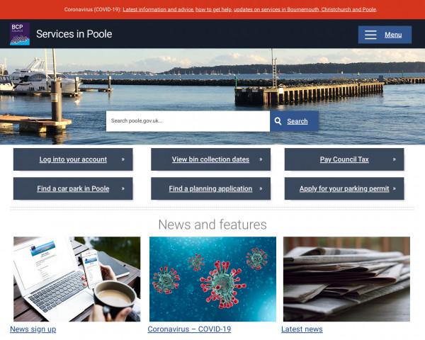 Desktop screenshot of Poole Borough Council website