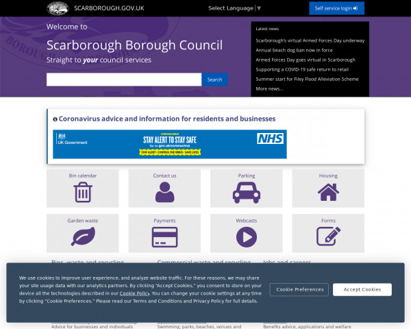 Desktop screenshot of Scarborough Borough Council website