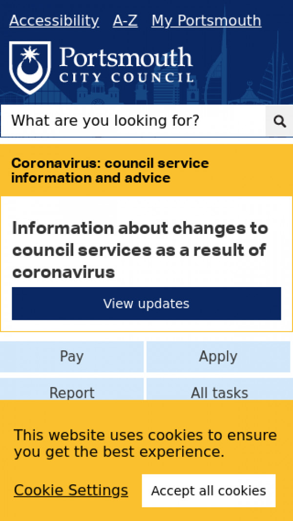 Mobile screenshot of Portsmouth City Council website