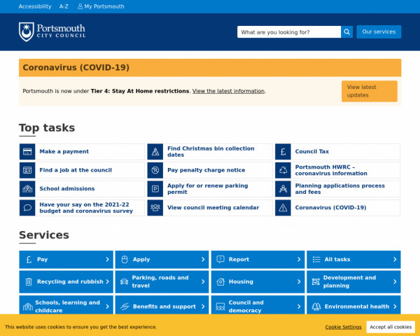 Desktop screenshot of Portsmouth City Council website