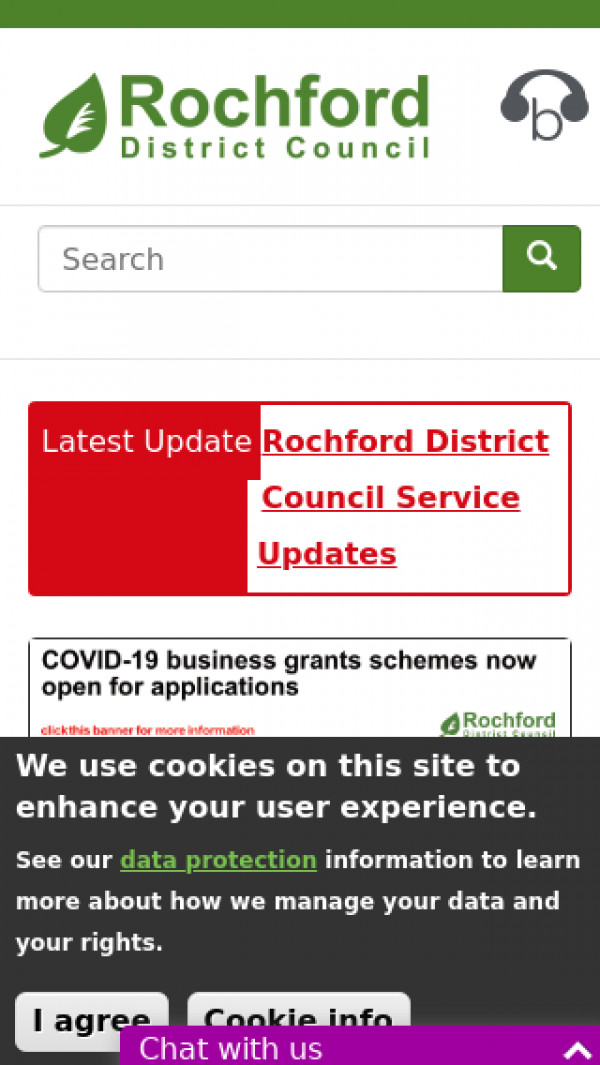 Mobile screenshot of Rochford District Council website