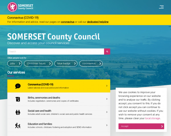 Desktop screenshot of Somerset County Council website