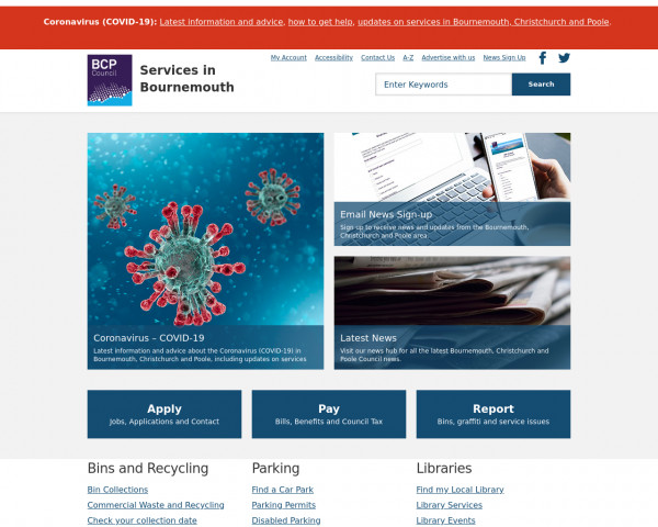 Desktop screenshot of Bournemouth Borough Council website