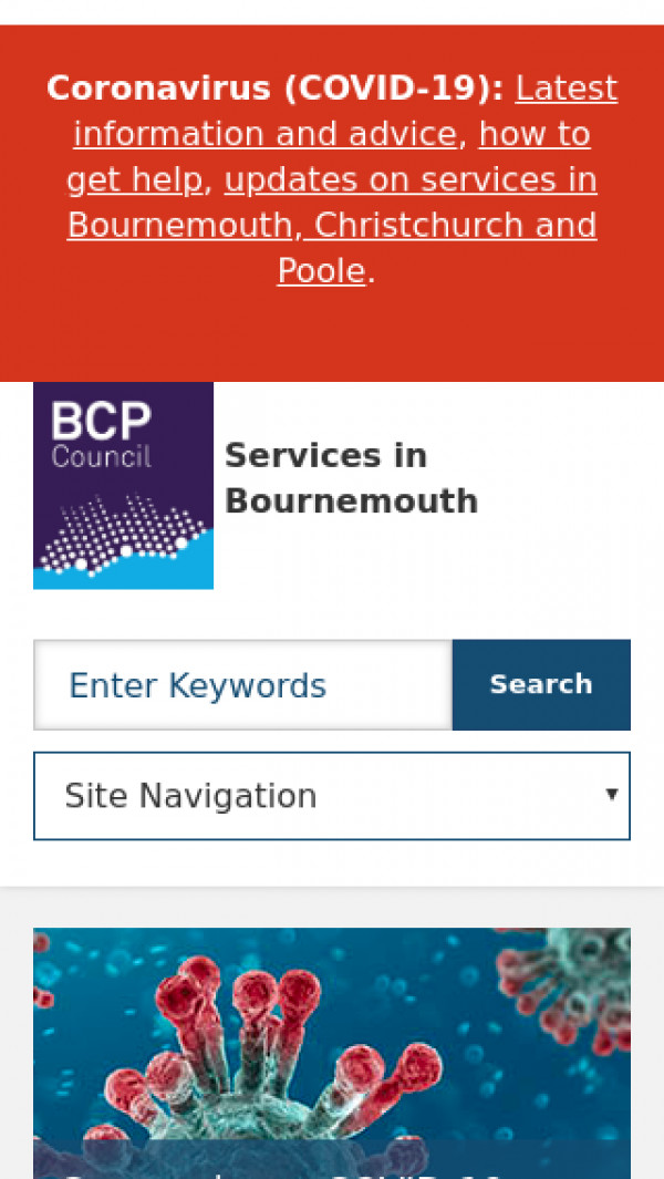 Mobile screenshot of Bournemouth Borough Council website