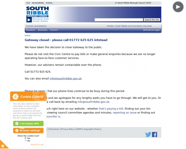 Screenshot of Gateway closed - please call 01772 625 625 intstead | South Ribble Borough Council