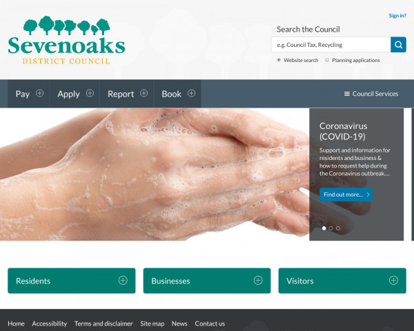 Desktop screenshot of Sevenoaks District Council website