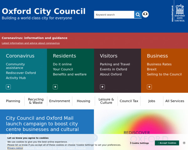 Desktop screenshot of Oxford City Council website