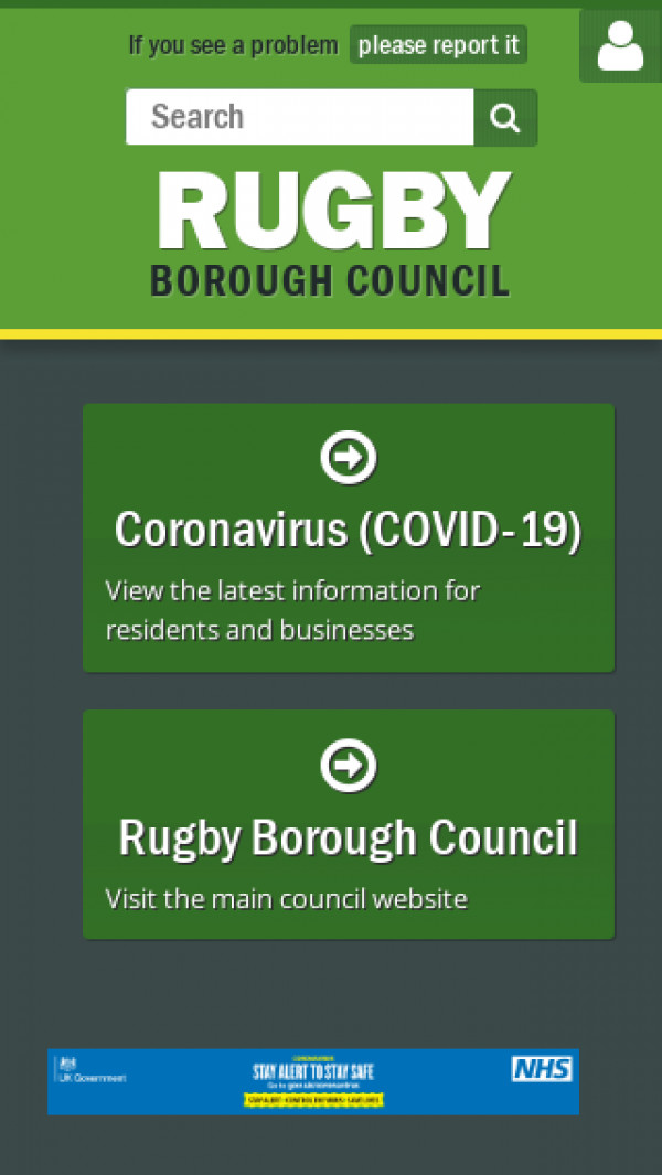 Mobile screenshot of Rugby Borough Council website