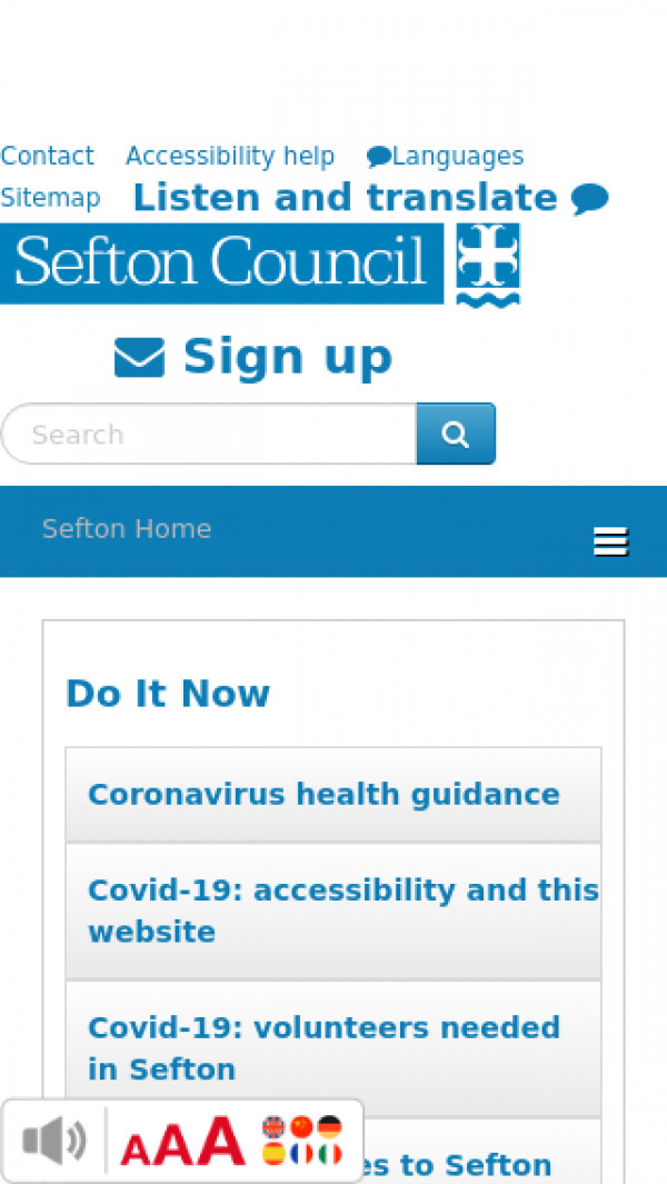 Mobile screenshot of Sefton Metropolitan Borough Council website