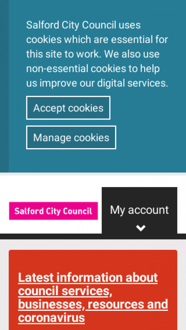 Mobile screenshot of Salford City Council website