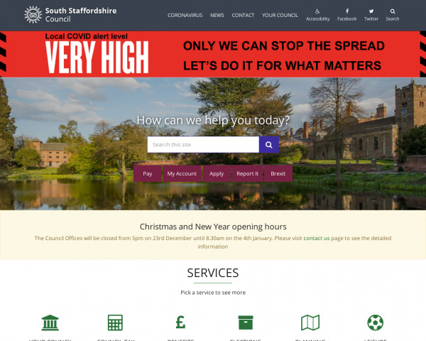 Desktop screenshot of South Staffordshire District Council website