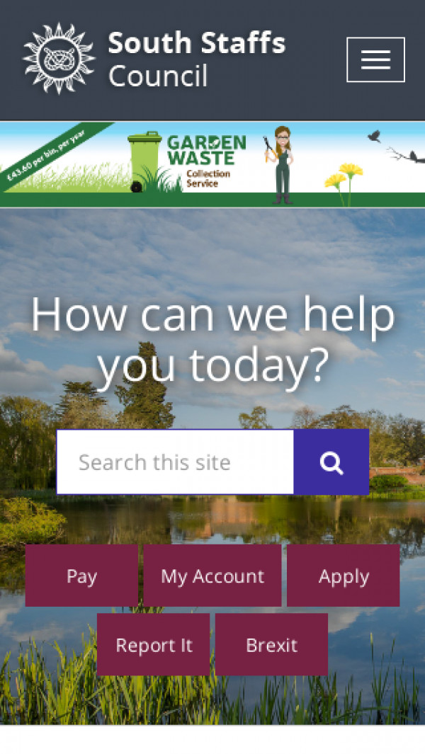 Mobile screenshot of South Staffordshire District Council website