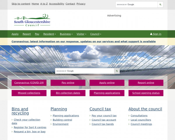 Desktop screenshot of South Gloucestershire District Council website