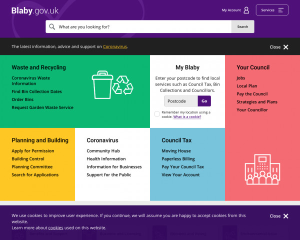 Desktop screenshot of Blaby District Council website