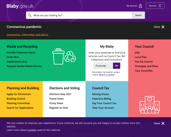 Screenshot of Blaby District Council