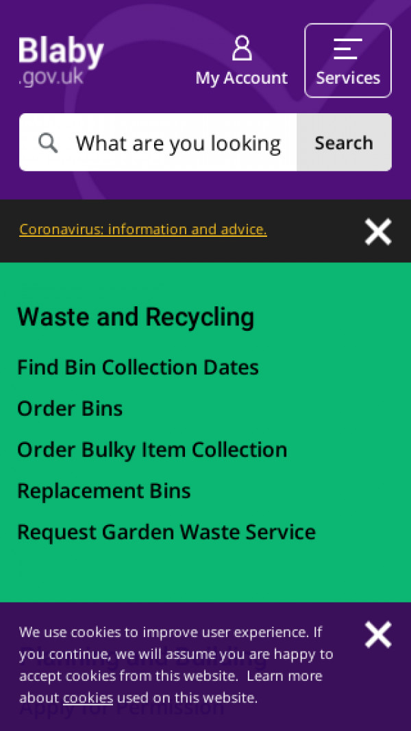 Mobile screenshot of Blaby District Council website
