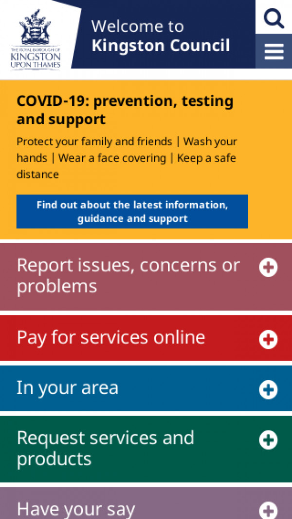 Mobile screenshot of Royal Borough of Kingston upon Thames Council website