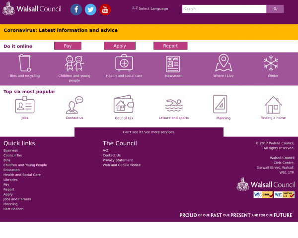 Desktop screenshot of Walsall Metropolitan Borough Council website