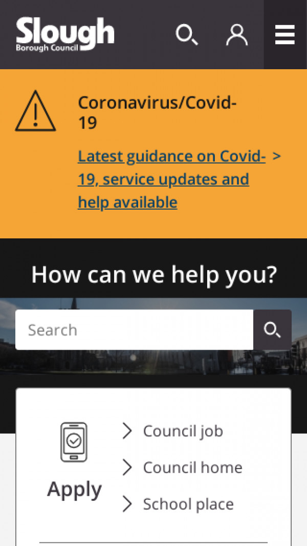 Mobile screenshot of Slough Borough Council website