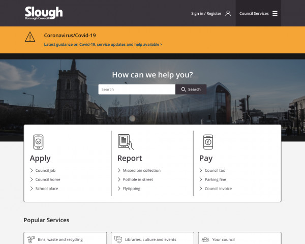 Desktop screenshot of Slough Borough Council website