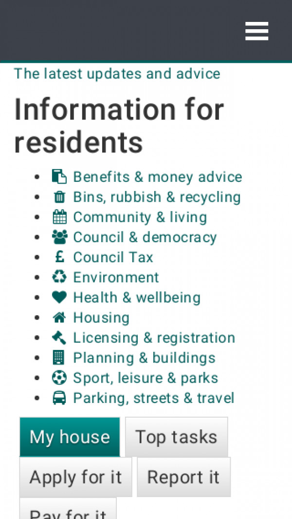 Mobile screenshot of Stroud District Council website