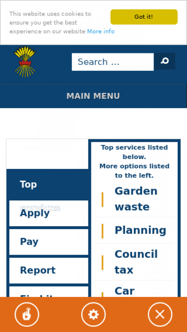 Mobile screenshot of Ryedale District Council website