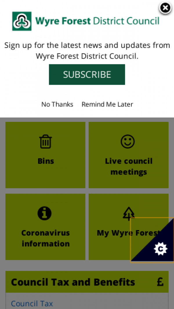 Mobile screenshot of Wyre Forest District Council website