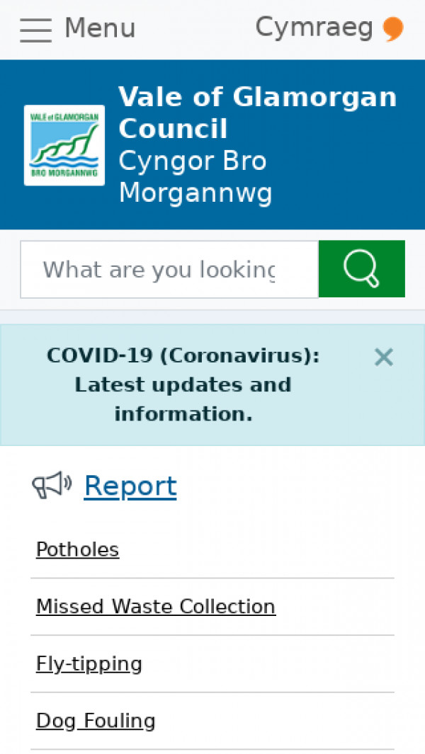 Mobile screenshot of Vale of Glamorgan Council website