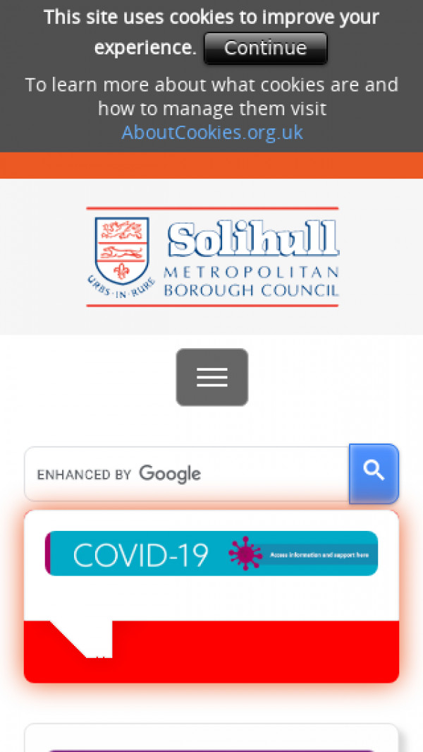 Mobile screenshot of Solihull Metropolitan Borough Council website