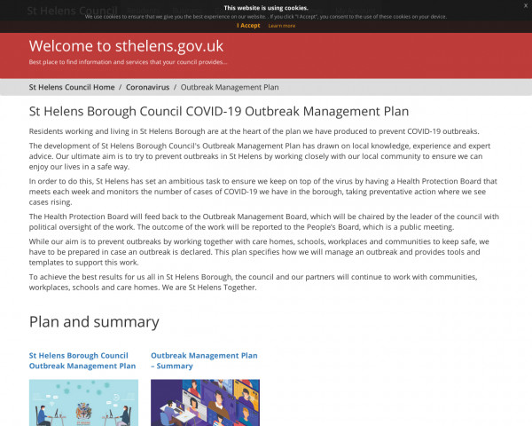 Screenshot of St Helens Borough Council COVID-19 Outbreak Management Plan - St Helens Council
