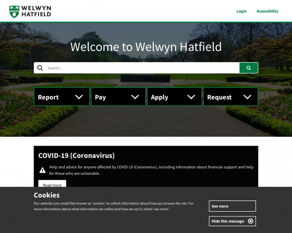Desktop screenshot of Welwyn Hatfield Council website