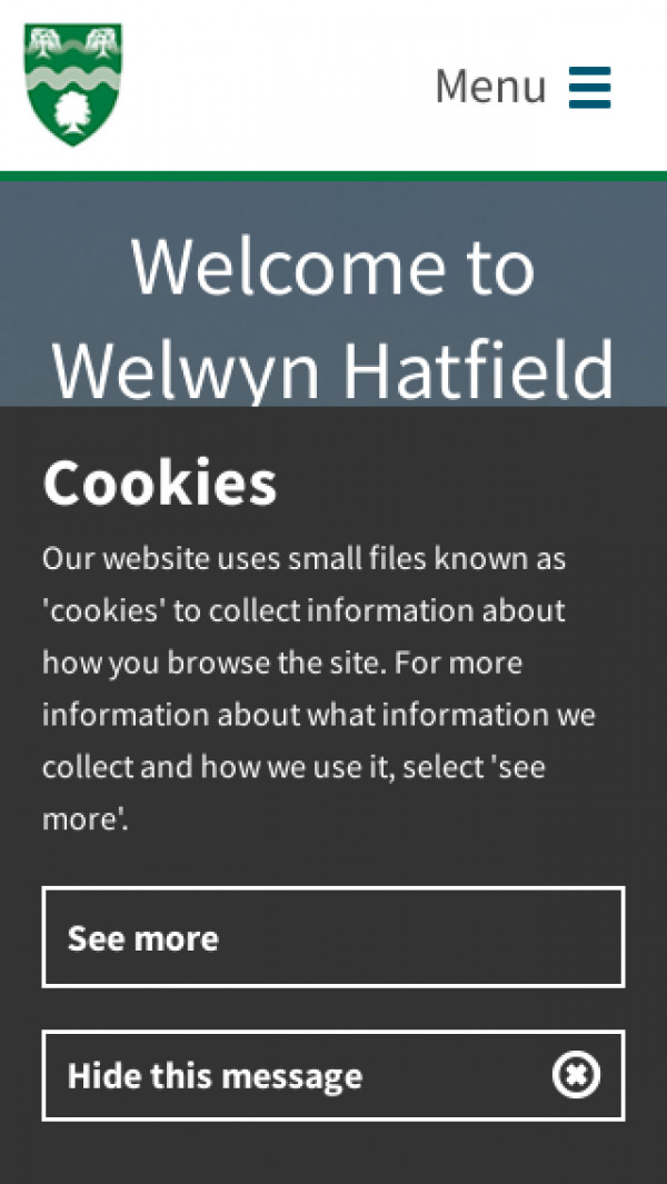 Mobile screenshot of Welwyn Hatfield Council website