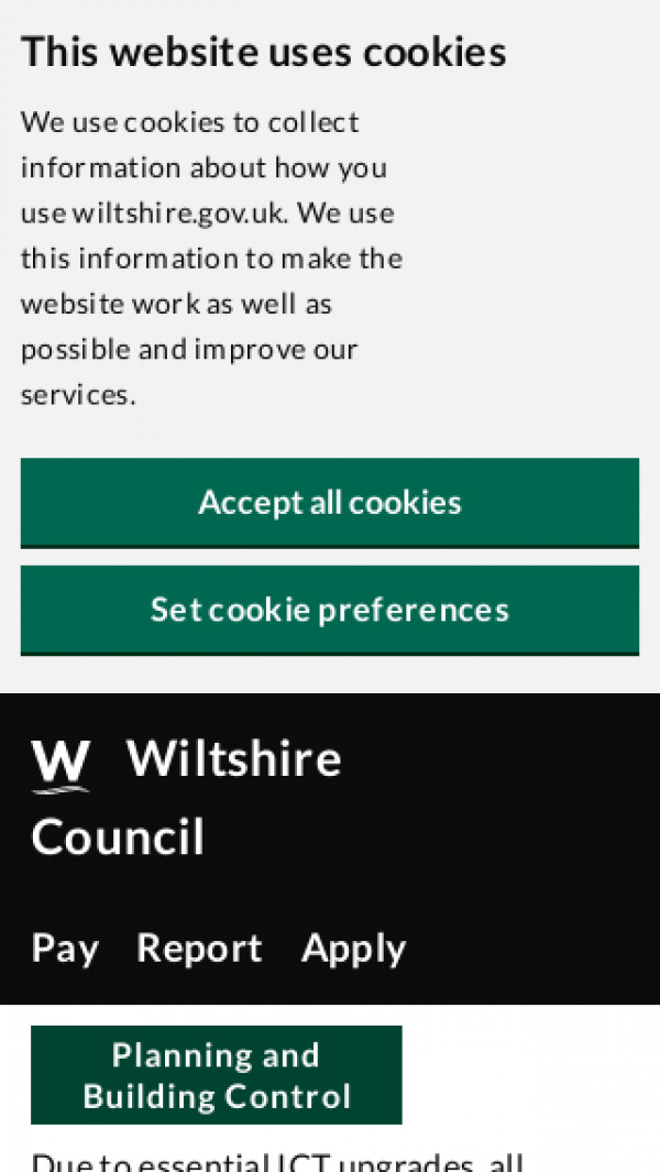 Mobile screenshot of Wiltshire Council website