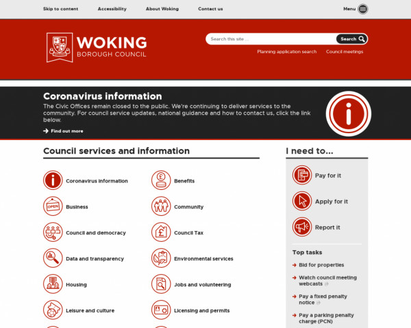 Desktop screenshot of Woking Borough Council website