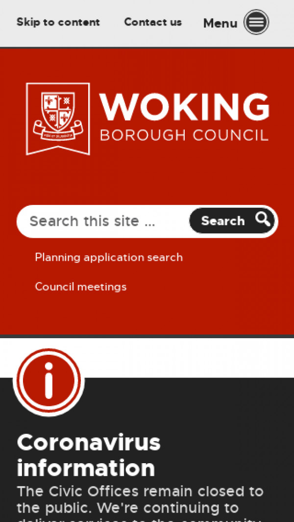 Mobile screenshot of Woking Borough Council website
